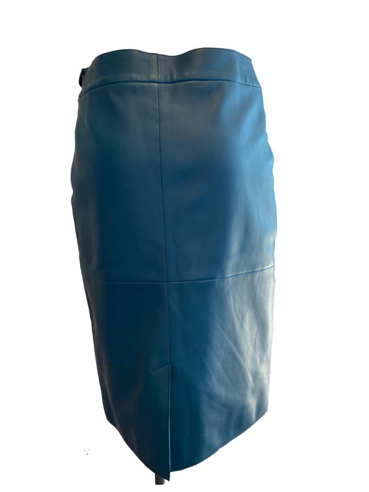 Hermès Blue Teal Lambskin Leather Skirt Size 40