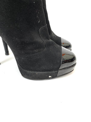 Chanel Black Suede Cap Toe Ankle Boots Size 37