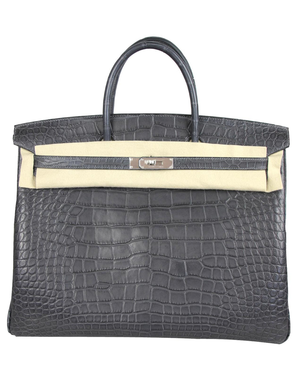HERMES 40cm Birkin in Graphite Matte Alligator with Palladium Hardware