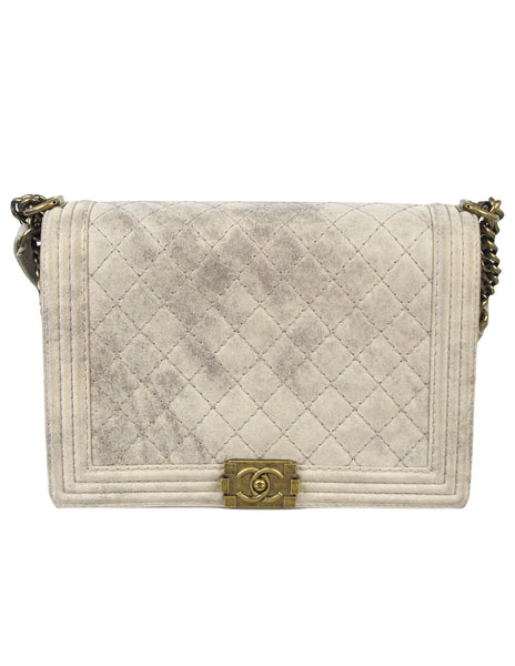 CHANEL Large Boy Bag in Beige Suede 2013 Autumn Collection