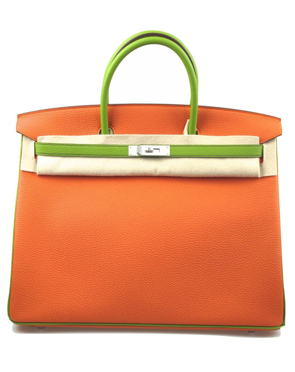 HERMES Birkin 40cm Togo Leather 2 Tone Vert Anis and Orange with Palladium
