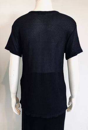 Chanel Navy Ribbed Top Size 40