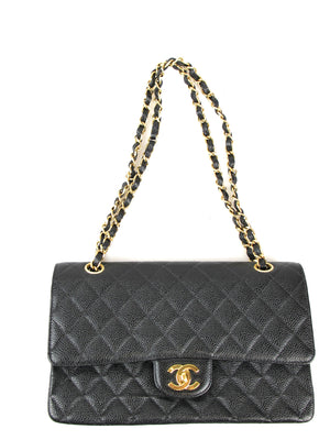 CHANEL Black Caviar 2.55 Double Flap Medium Shoulder Bag