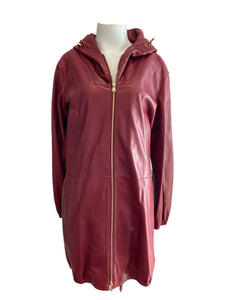 Louis Vuitton Cranberry Leather with Hood Coat Size 36