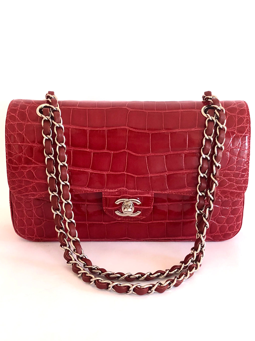Chanel Red Alligator Classic Flap Shoulder Bag 2017