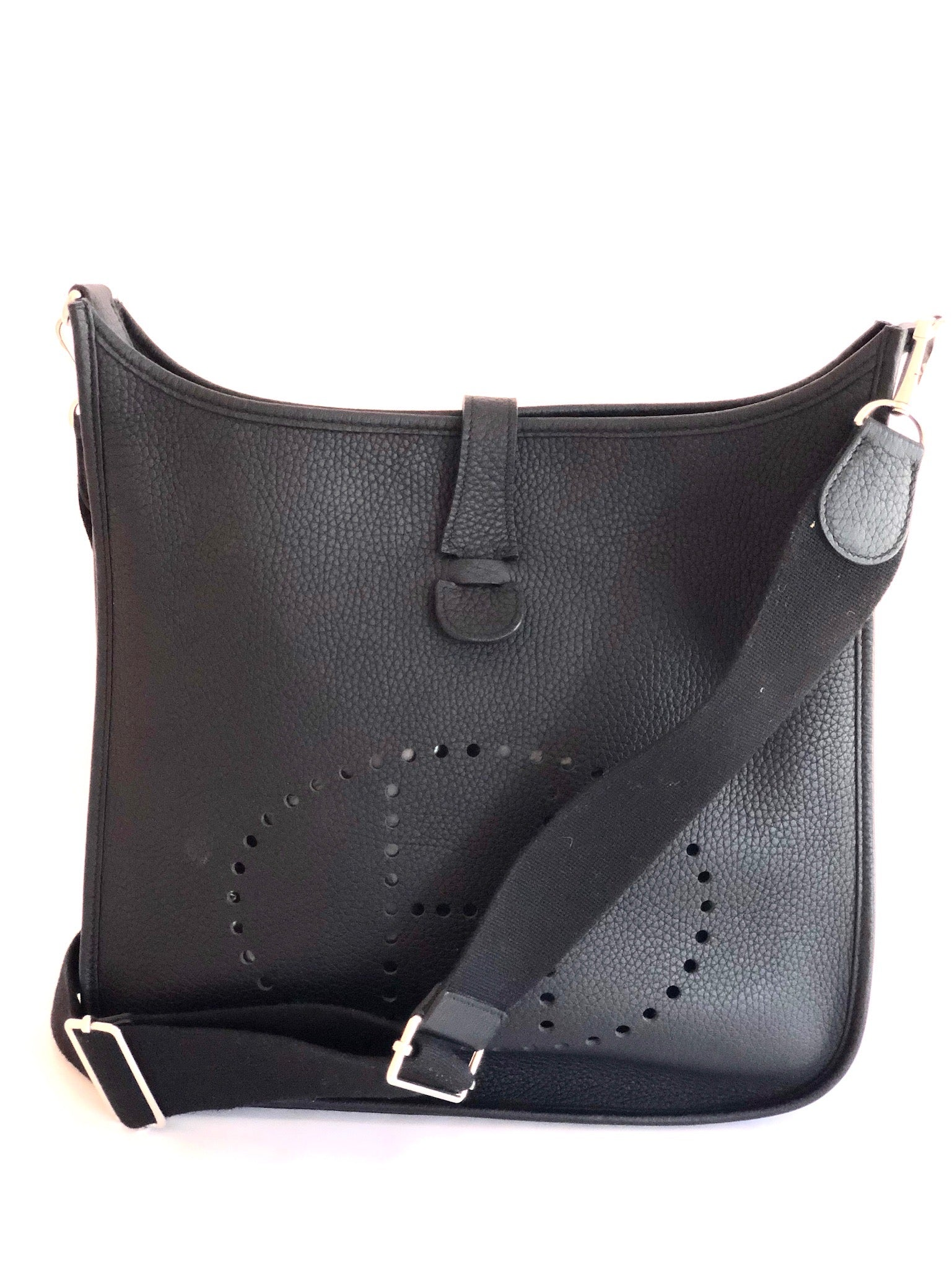 Hermes Evelyne III GM Black Leather Shoulder Bag R Stamp