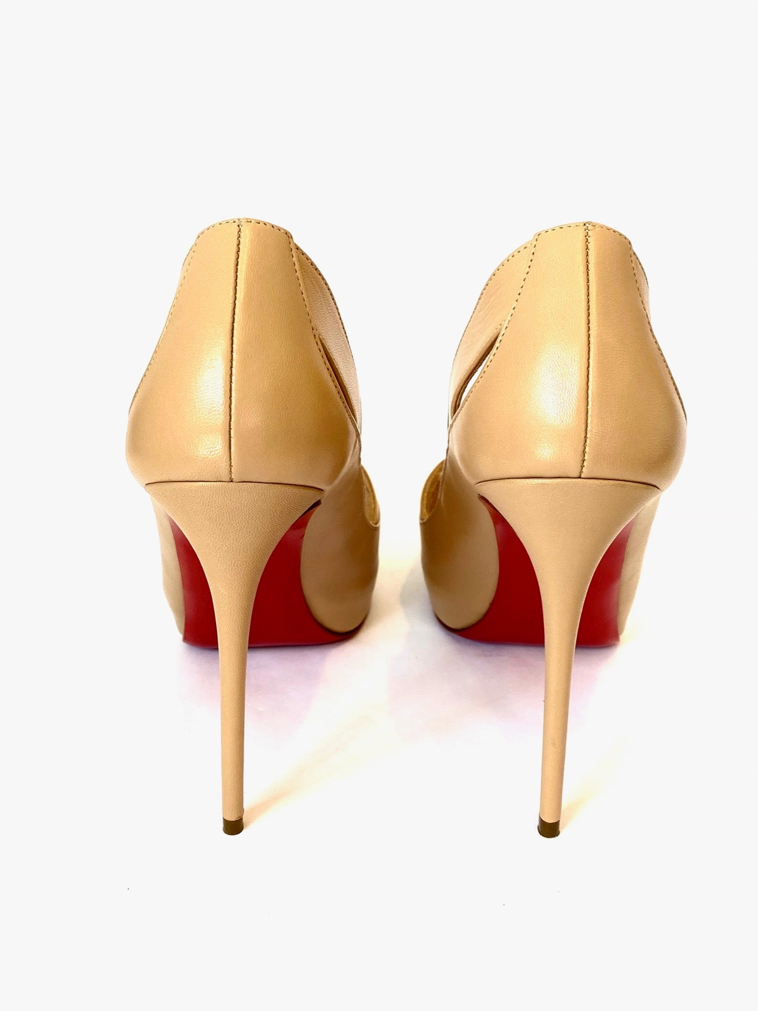 Christian Louboutin Nude Leather Academa 120 Pumps Size 36.5