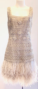 Oscar de la Renta Silver Dress with Ostrich Feathers Size 10