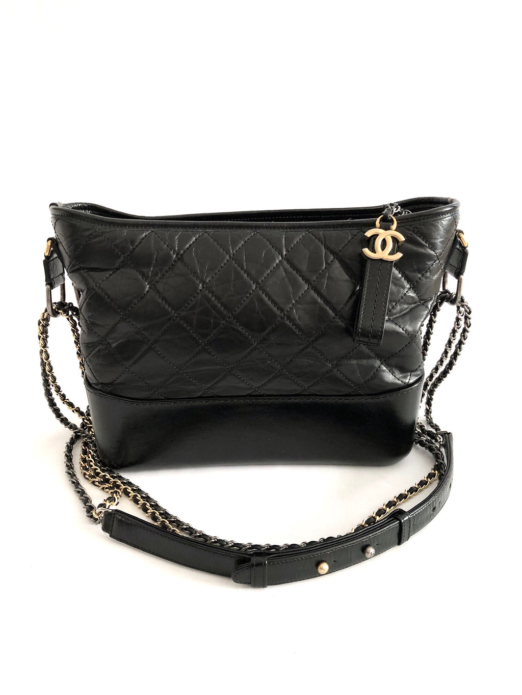 Chanel Gabrielle Hobo Black Leather Shoulder Bag