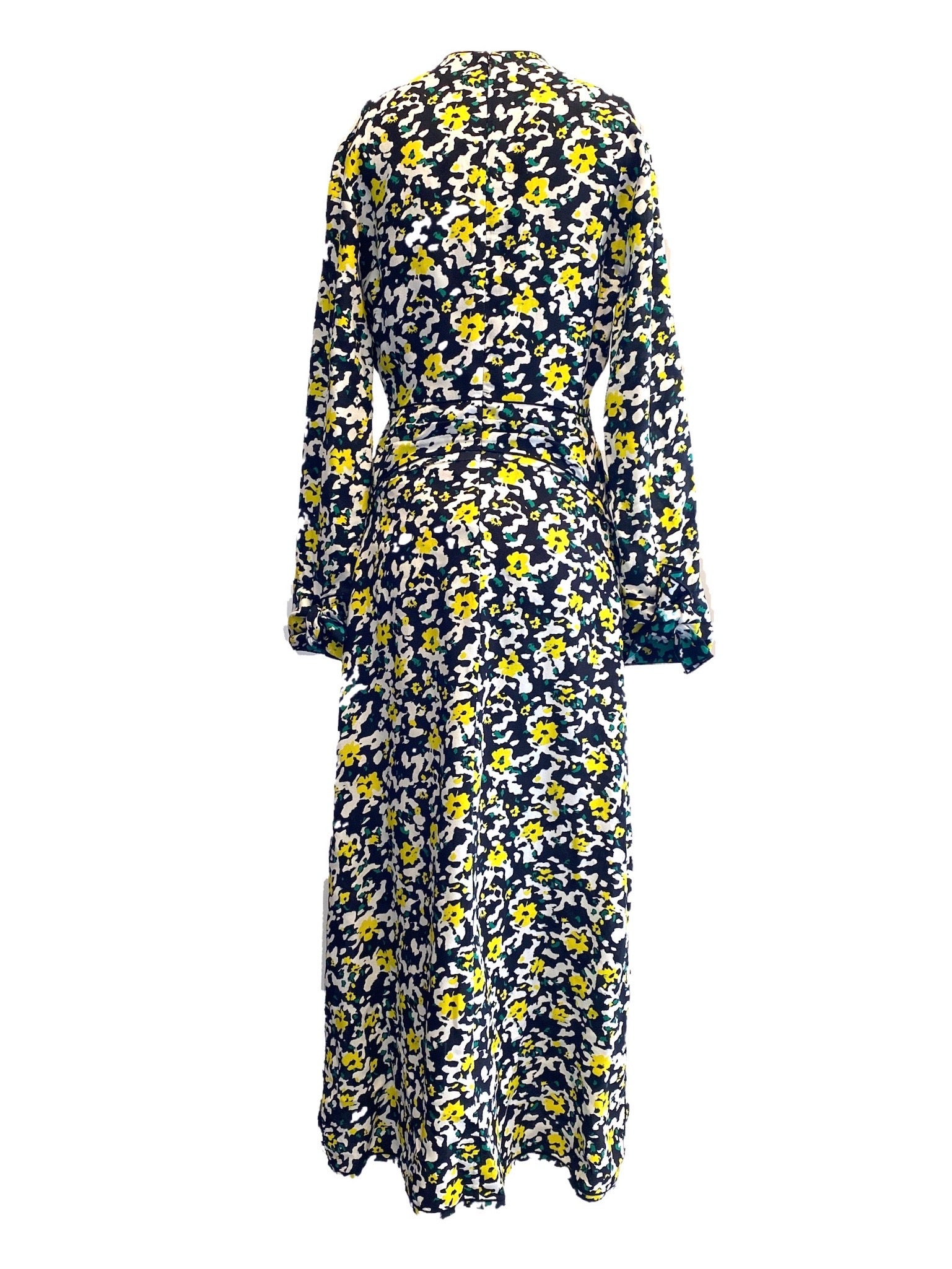 Proenza Schouler Navy and Yellow Floral Print Deep V Maxi Dress Size 6