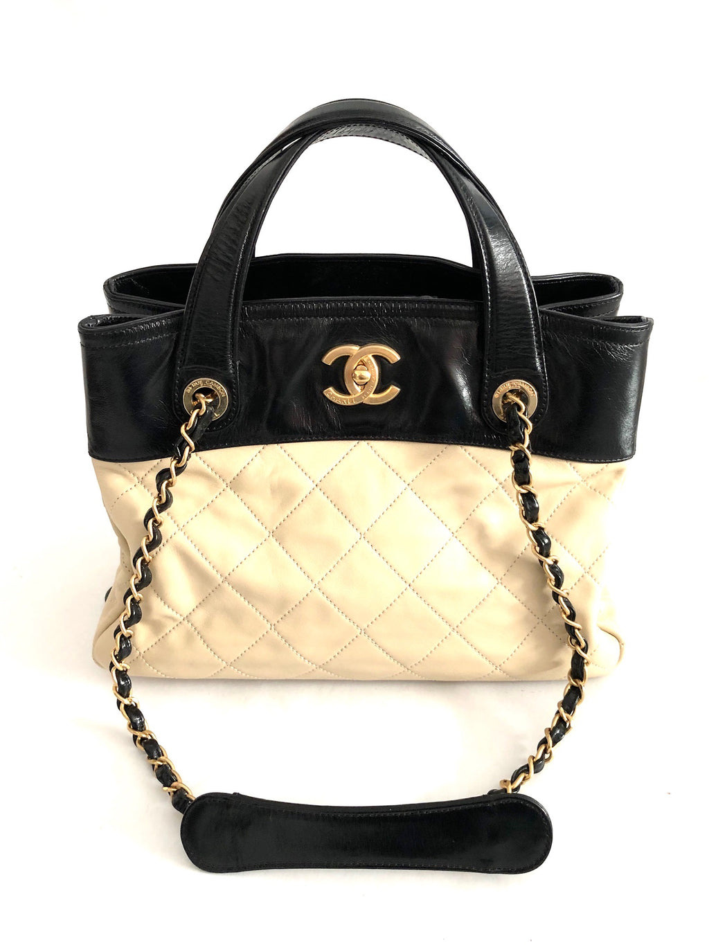 Chanel Quilted In The Mix Tote Cream Leather Shoulder Bag