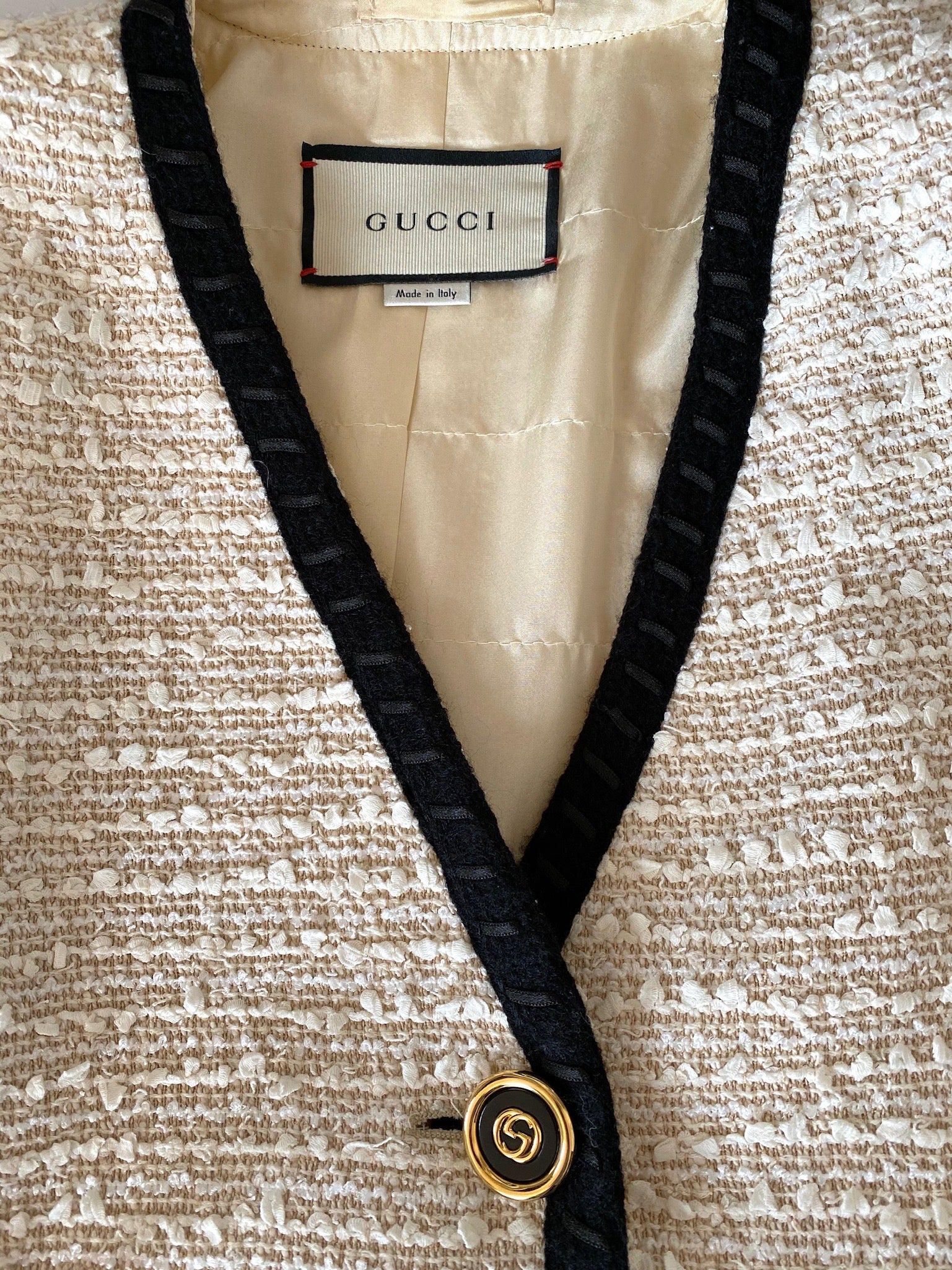 Gucci Ivory Tweed Jacket with Black Trim and Logo Buttons