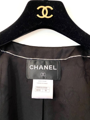 Chanel Gray and Black Striped Cropped Jacket with Sequins Size 38