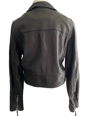 Isabel Marant Etoile Black Leather Moto Jacket Size 38