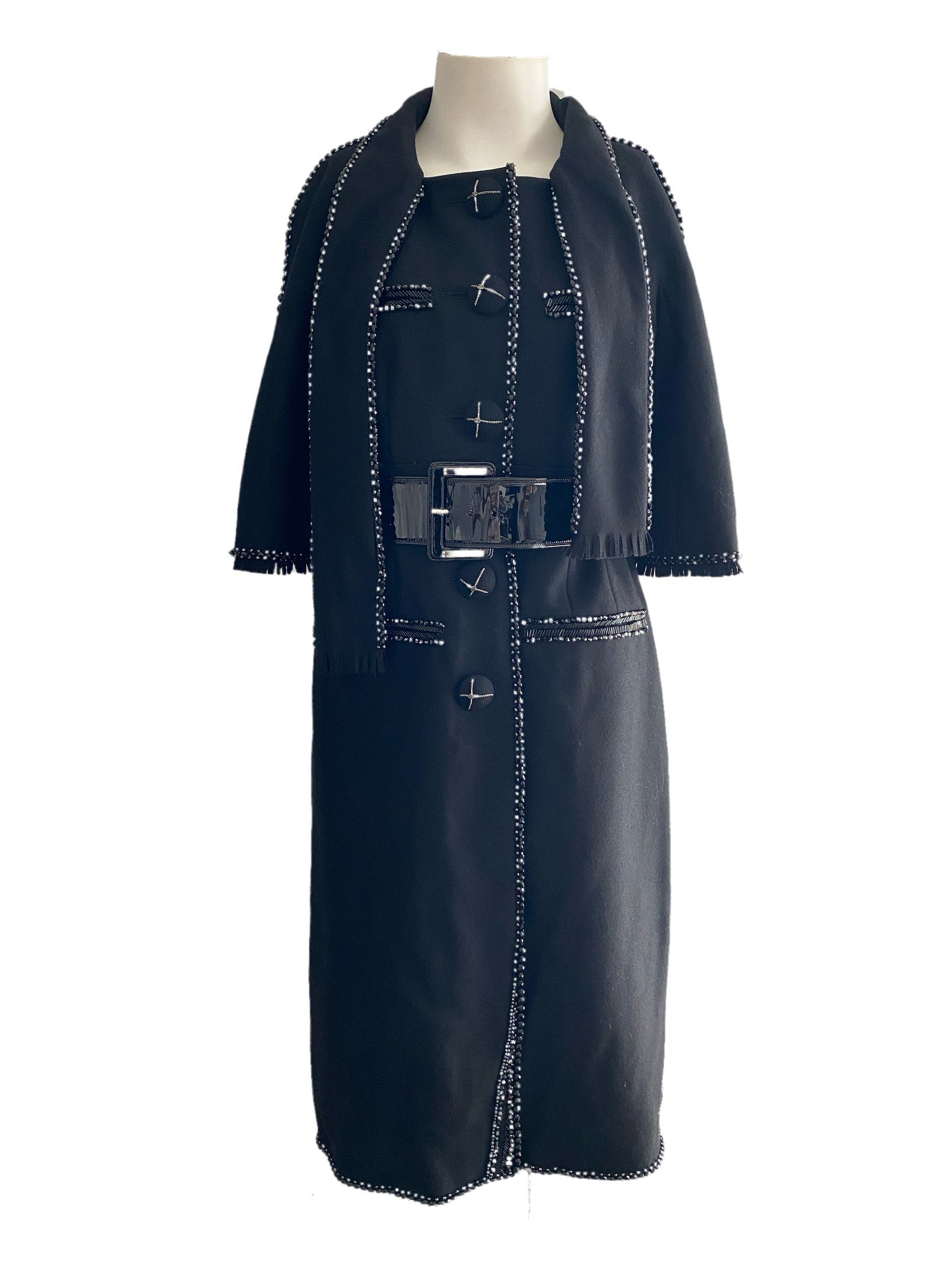 Chanel Black Beaded Dress Coat with Belt Size 40 Autumn 2007