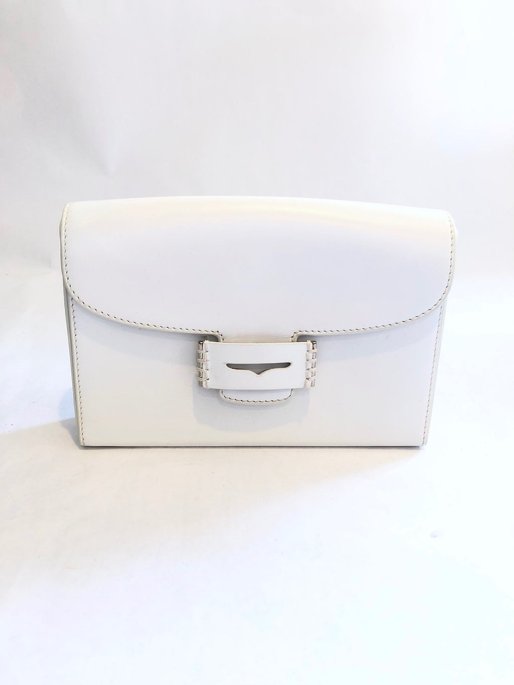 Myriam Schaefer White Leather Box Clutch