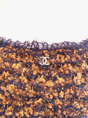 Chanel Purple and Gold Boucle Knit Spaghetti Strap Top Size 42 Autumn 1998