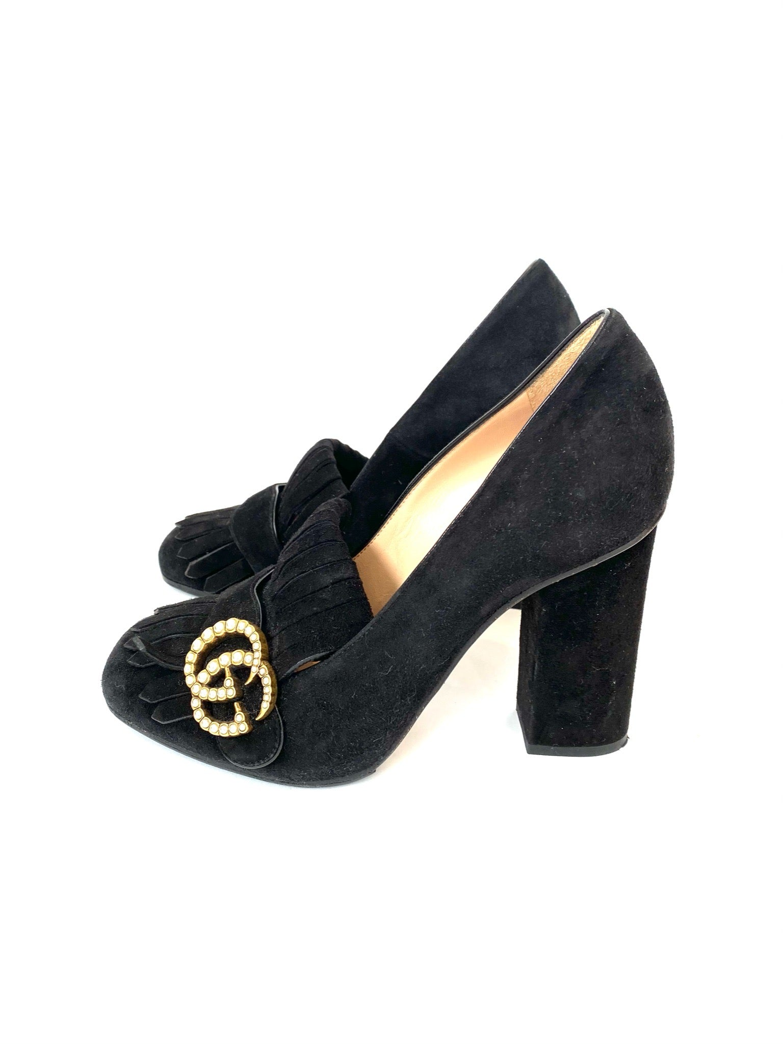 Gucci Black Suede Pumps with Pearls Size 36