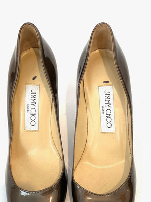 Jimmy Choo Shoes Brown Patent Leather Pointed Pumps Size 37