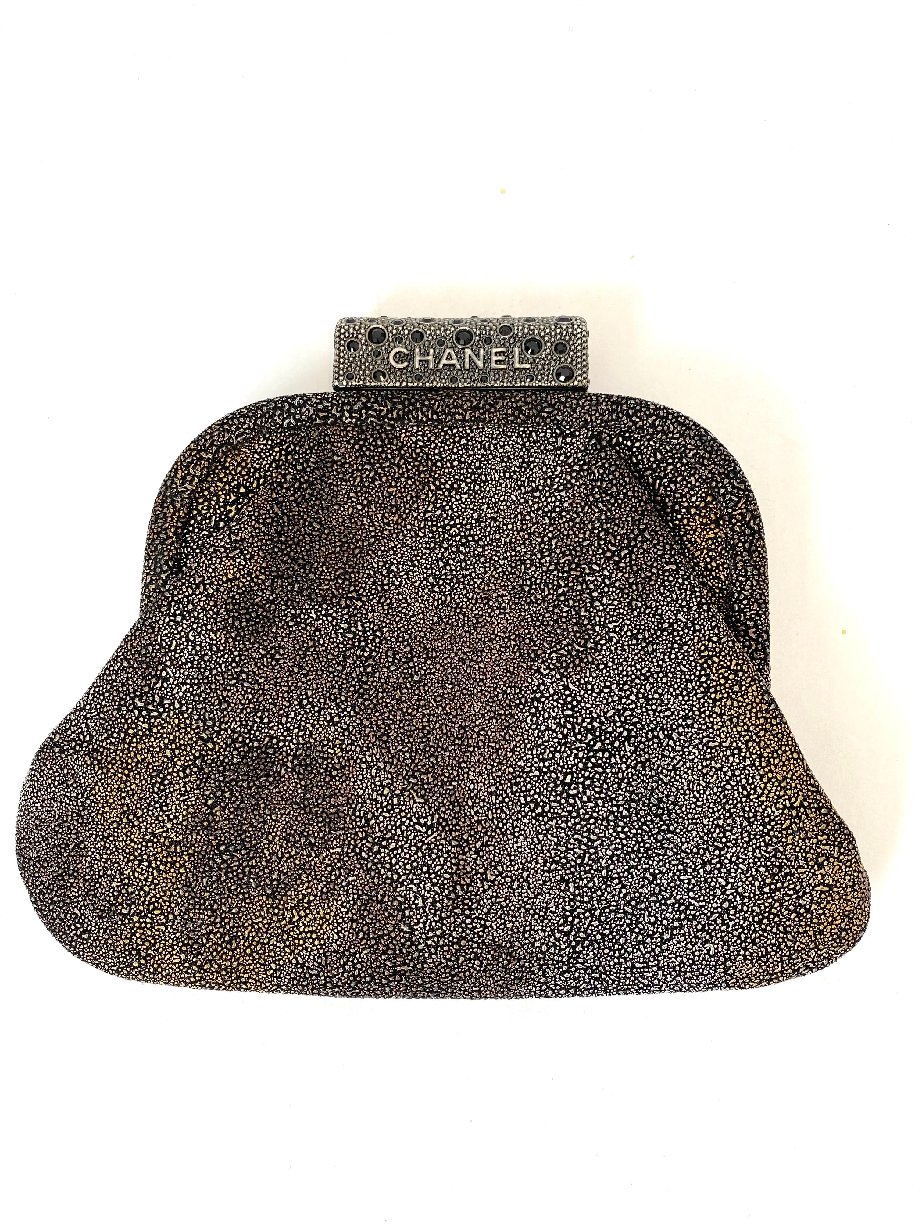 Chanel Shagreen Frame Clutch Bag
