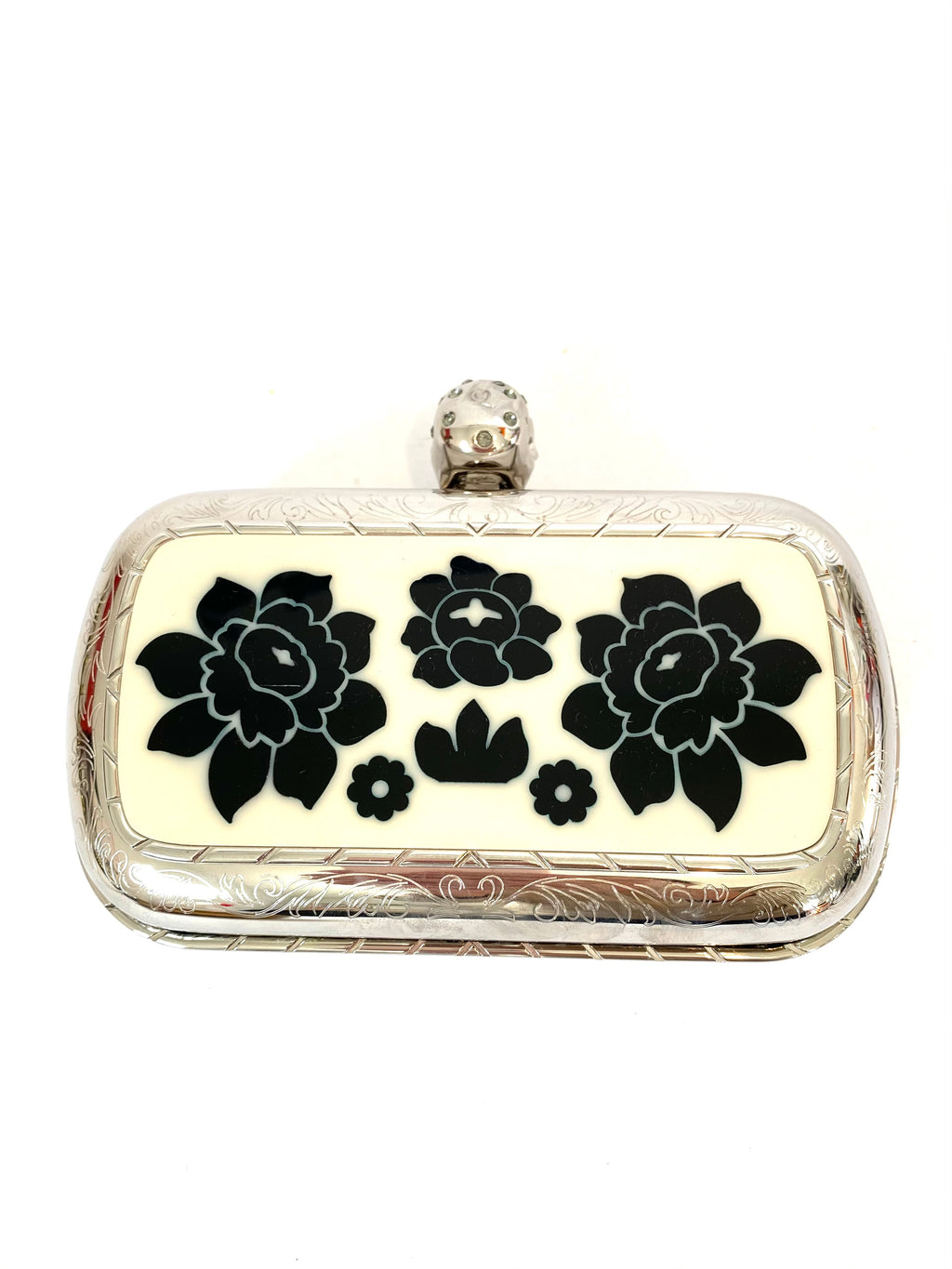 Alexander McQueen Silver Skull Clutch with Floral Inlay