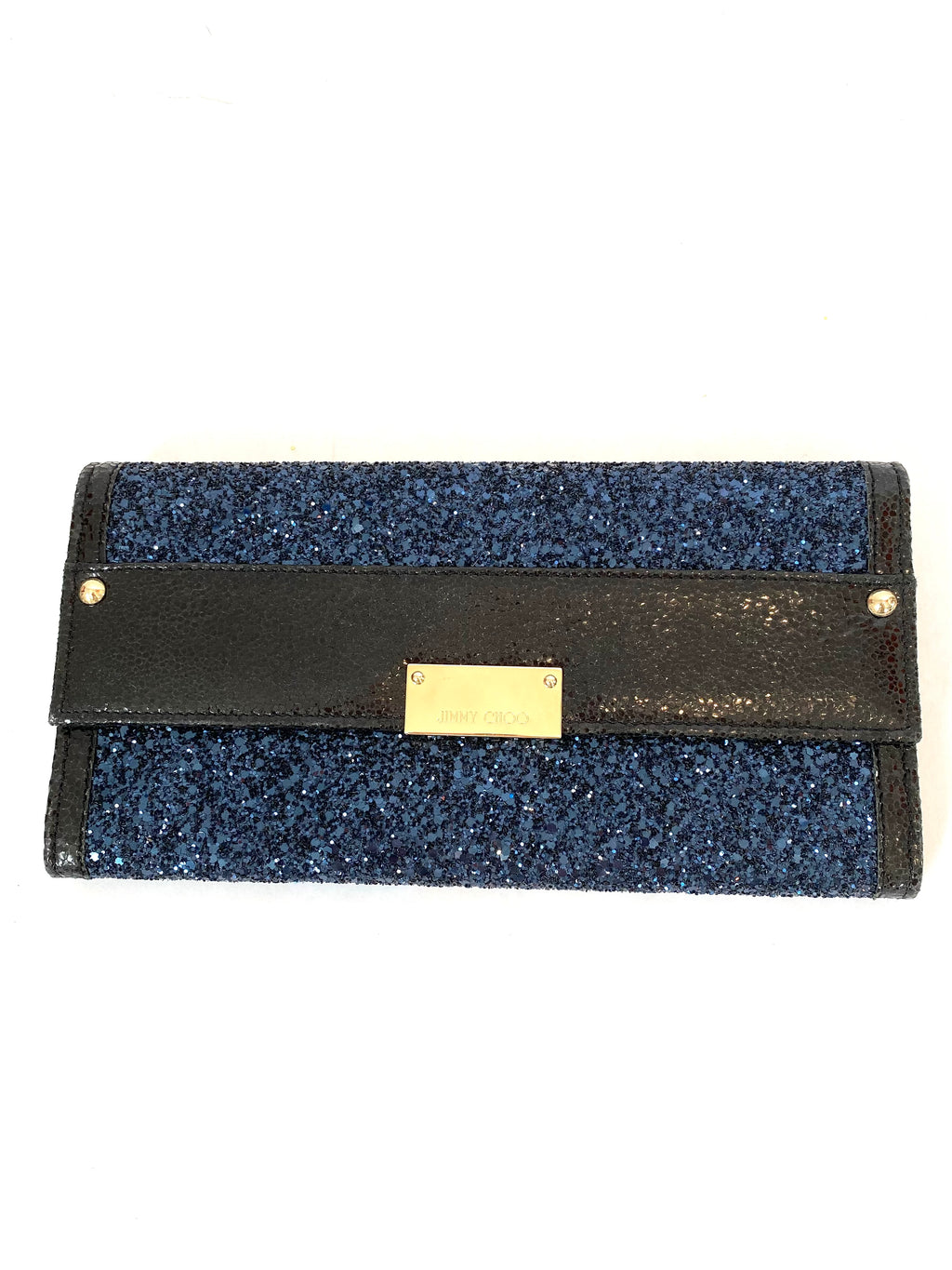 Jimmy Choo Navy Glitter and Leather Reese Wallet Clutch