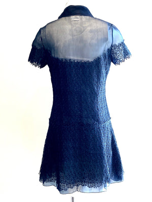 Chanel Navy Blue Lace Dress Knee Length Size 38