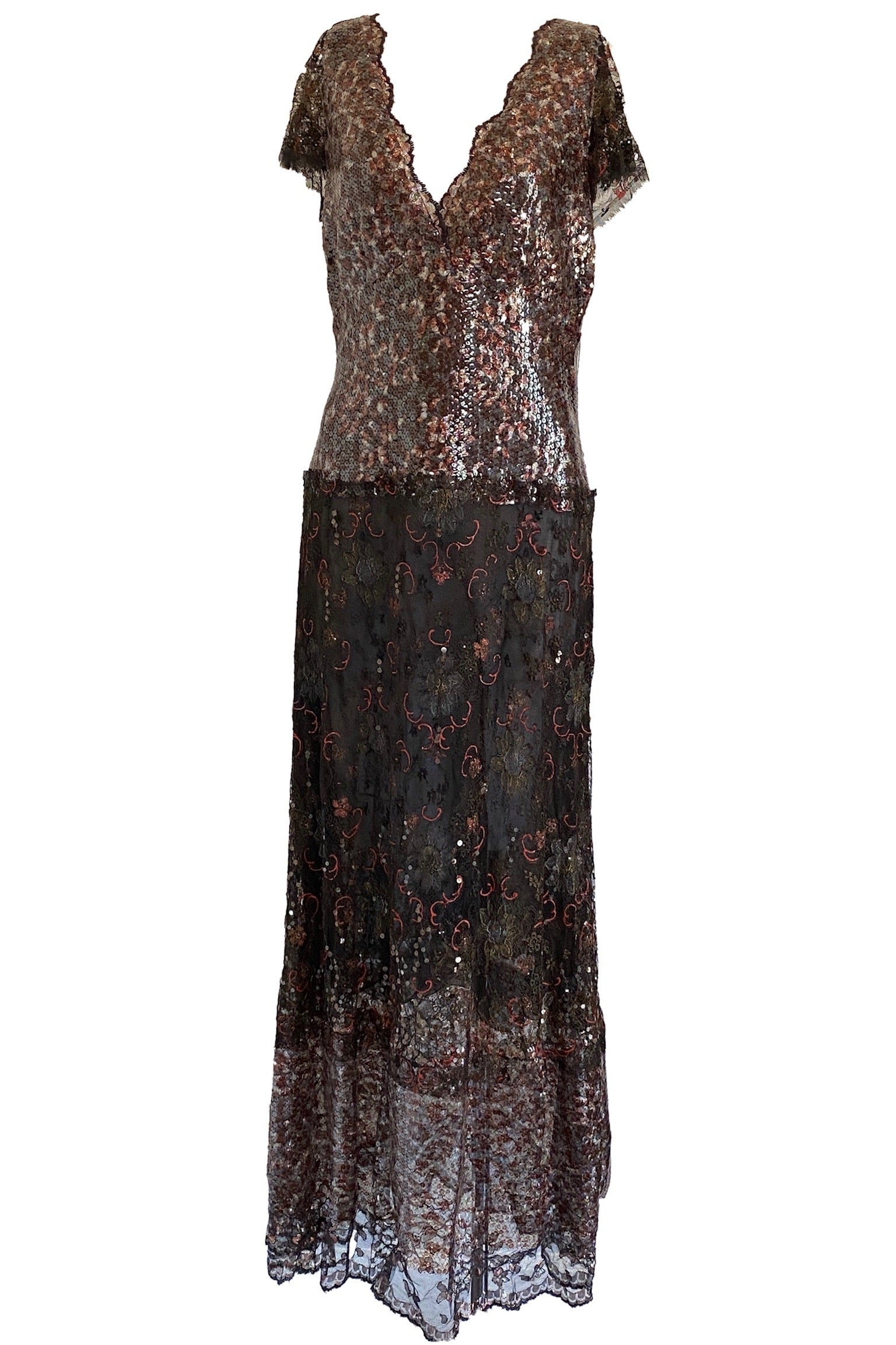 Chanel Red and Black Sequin and Floral Embroidered Lace Dress Size 42