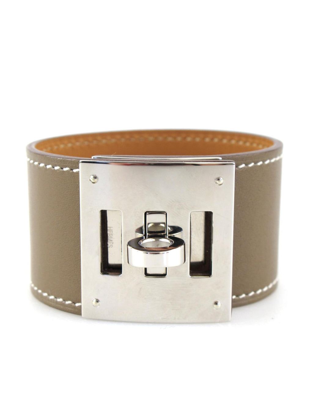 HERMES Etoupe Swift Kelly Dog Bracelet with Palladium Hardware