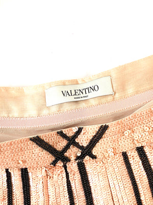 Valentino Sequin Windowpane Top and Skirt Set Size 4