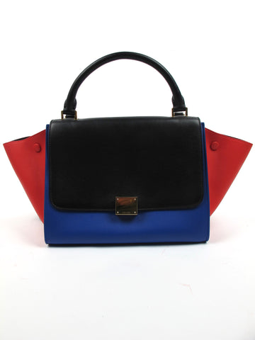 Celine Trapeze Tricolor Red Blue Black Leather Handbag