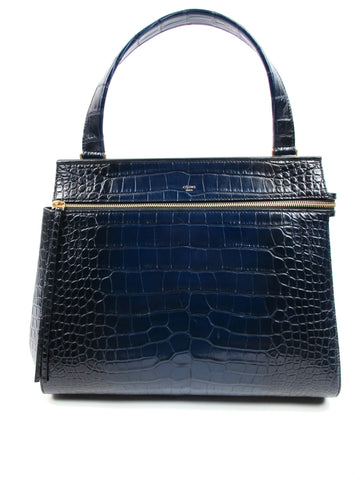 Celine Dark Blue Crocodile Skin Edge Top Handle Bag Fall 2013 Collection