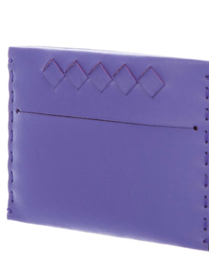 Bottega Veneta Intrecciato Trimmed Purple Leather Card Case