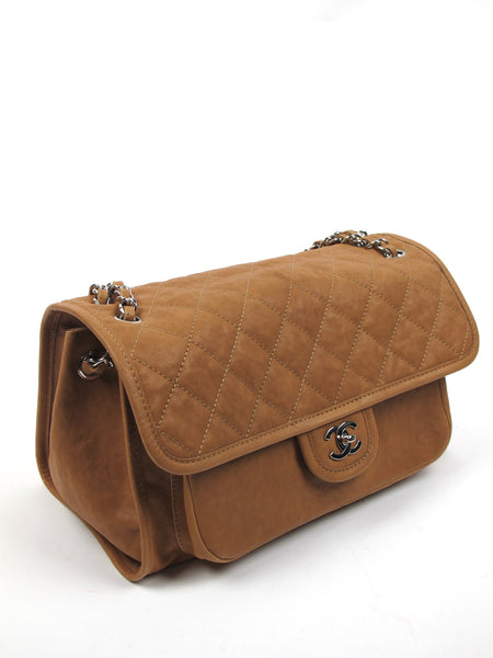 Chanel Tan Diamond Stitching Leather Large Flap Bag with Chain Straps