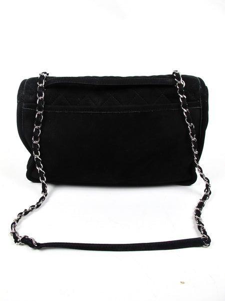 Chanel Black Ultra Soft Suede Calfskin Natural Beauty Large Flap Bag Silver Hardware