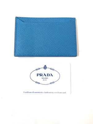 Prada Saffiano Blue Card Case 2017 Collection