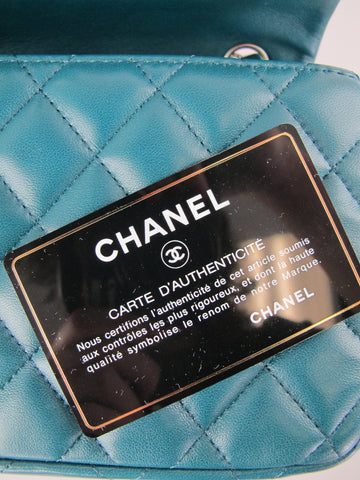 CHANEL East West Turqoise Lambskin with Silver Chain Woven Strap