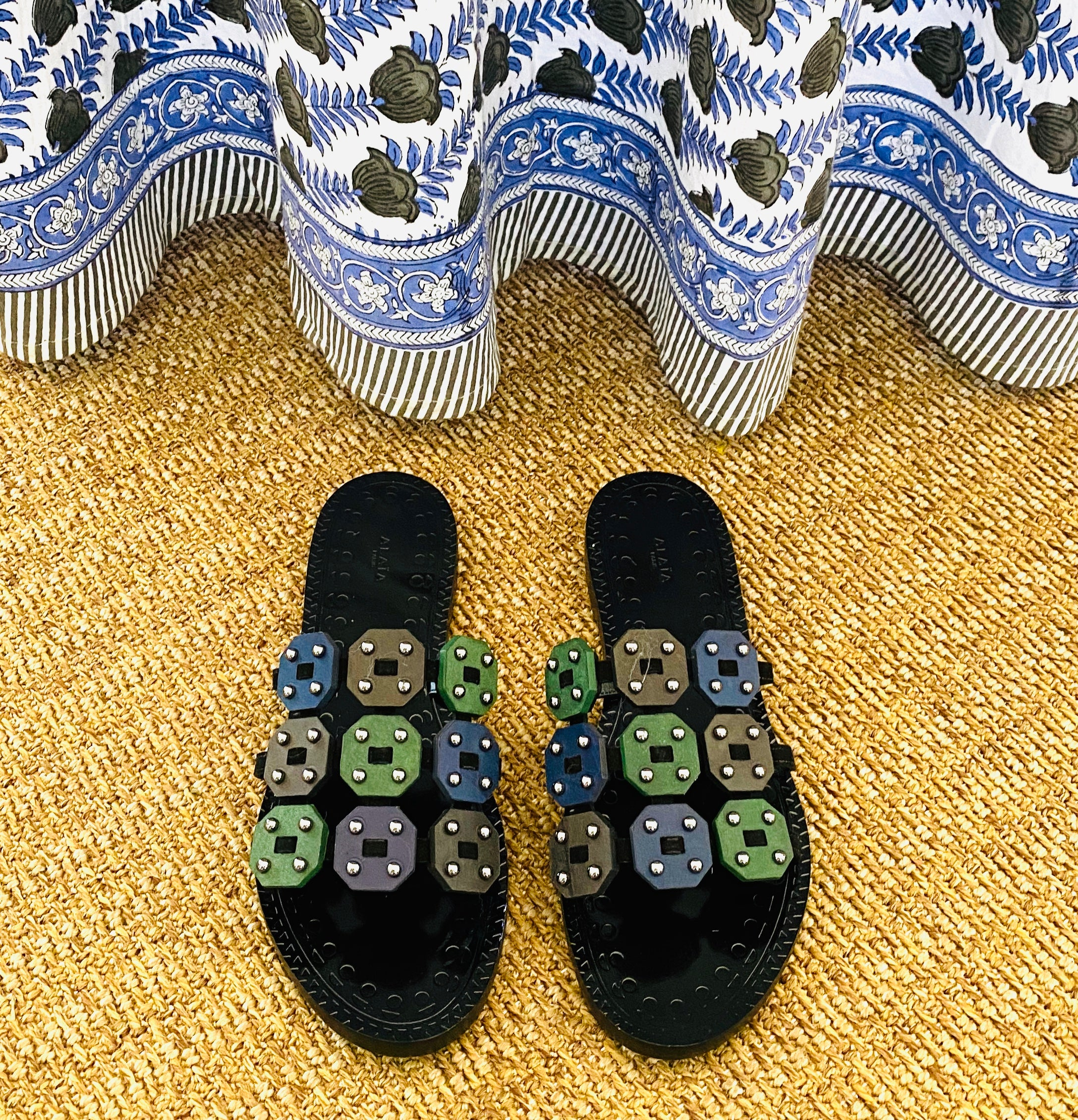 Alaia Multi Color Stud Flat Sandals Size 38