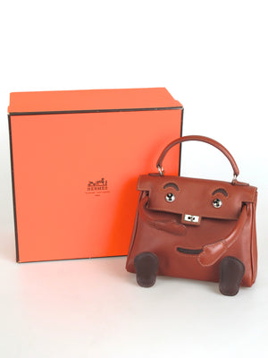 HERMES Limited Edition Noisette Gulliver Leather Quelle Idole Kelly Doll Bag