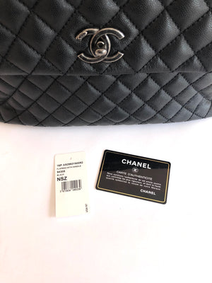Chanel Black Caviar Leather Top Handle Kelly Flap Bag with Shoulder Strap 2016