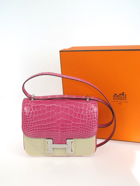 HERMES Alligator Constance 18cm Palladium Hardware Q Stamp