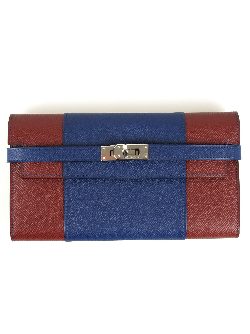 HERMES Kelly Long Wallet 2 Tone Epsom Classique Flag Blue Sapphire Rouge