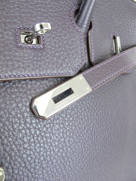HERMES 35cm Birkin Aubergine Togo Leather with Palladium Hardware 2007