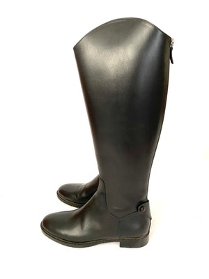 Christian Dior Black Leather Riding Boots Knee High Size 38