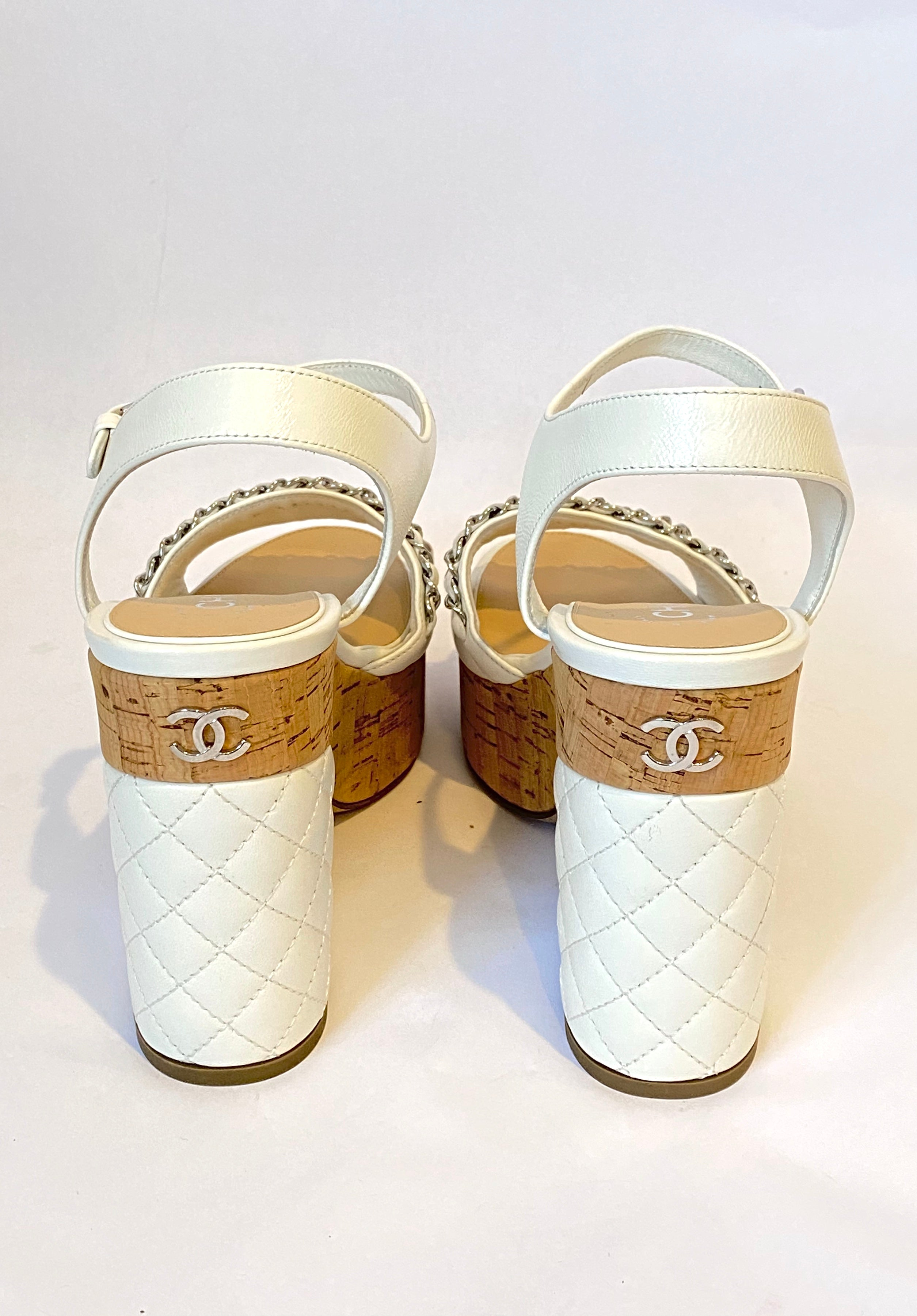 Chanel White Quilted Leather and Cork Platform Sandals with Chain Detail Size 38