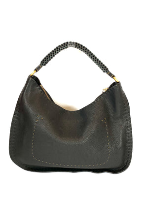 Fendi Black Selleria Hobo with Contrast Stitching