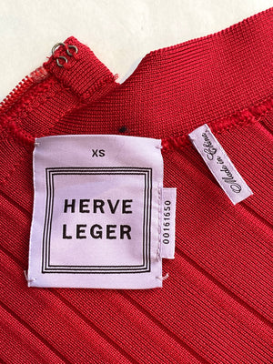 Herve Leger Red Sadie Dress Size XS