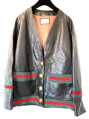 Gucci Leather Classic Stripe Cardigan Size 40