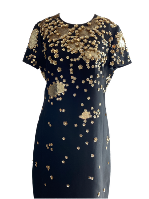 Valentino Black Cocktail Dress with Sequins