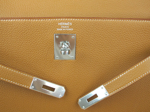 HERMES Kelly 35cm New with Box Gold Togo Leather Palladium Hardware P Stamp